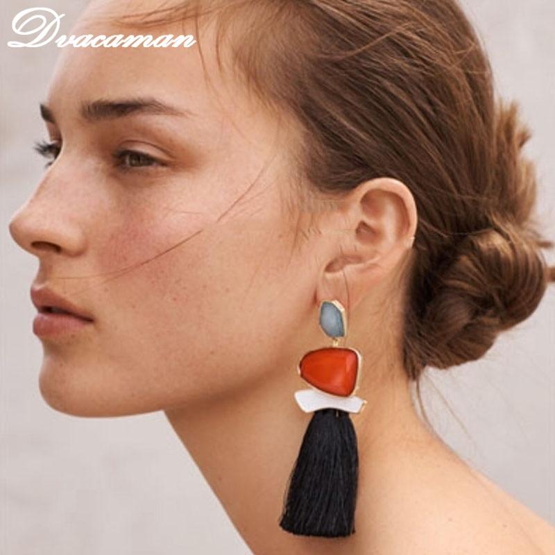 Dvacaman boho drop earrings vintage statement jewelry ethnic fringe earrings simulated pearl tassel long earring for