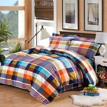 Simple color plaid style Winter soft velvet bedding set super warm bed sheet duvet cover pillowcase soft bedding home textile