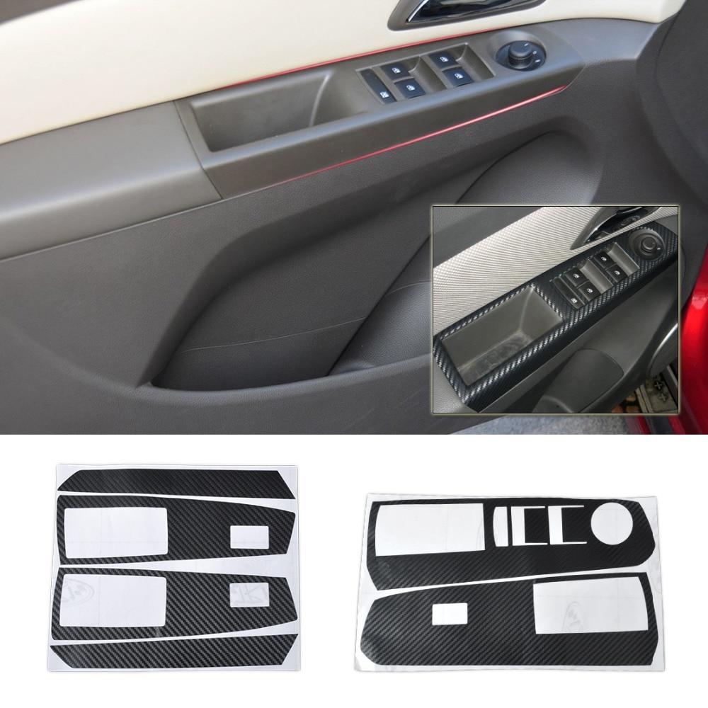 Viva car sticker design - Car Interior Door Window Switch Carbon Fiber Molding Sticker Decal For Chevrolet Holden Cruze 2009 2010