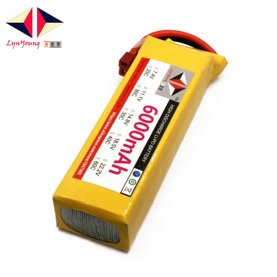 LYNYOUNG 4S Lipo Battery 14.8V 6000mah 40C Max 80C for RC Helicopter quadcopter car truck drone lynyoung battery lipo 4s 3000mah 14 8v 35c for rc bike drone boat plane car truck helicopter