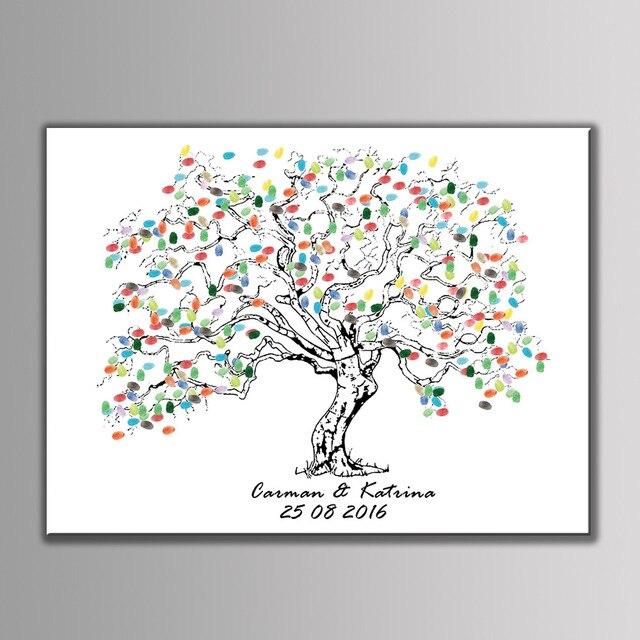 New Customized DIY Wedding Fingerprint Tree Baby Shower Birthday Party  Graduation Signature Guest Book Set Painting