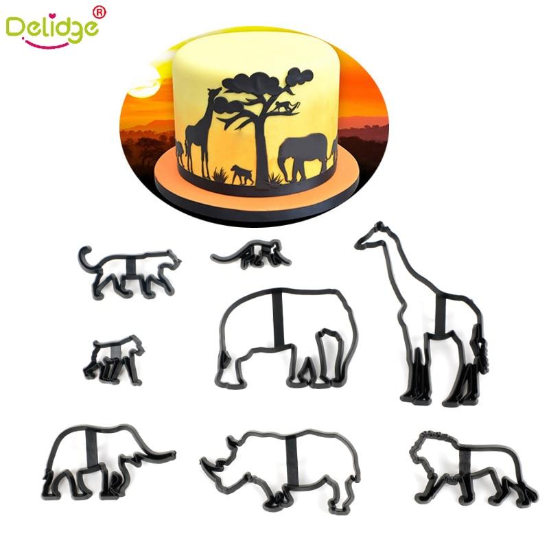 Delidge 8 pçs/set Animal Biscuit Fondant Cortadores de Biscoito Molde Preto Girafa/Leão/macaco/hipopótamo/cão DIY ferramenta de Decoração Do bolo
