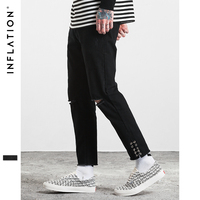 INFLATION Men Black Ripped Jeans Super Stretch Male Jeans Distressed Metal Ring Men Jeans Skinny Fit