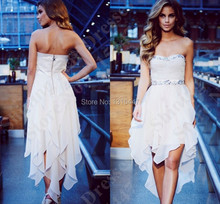 2017 Fast Shipping White Prom Dress Short Front Long Back Sweetheart Beaded Junior Formal Evening Party