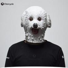 White Teddy Dog Latex Mask, Animal Mask Hend Cosplay Costume Prop