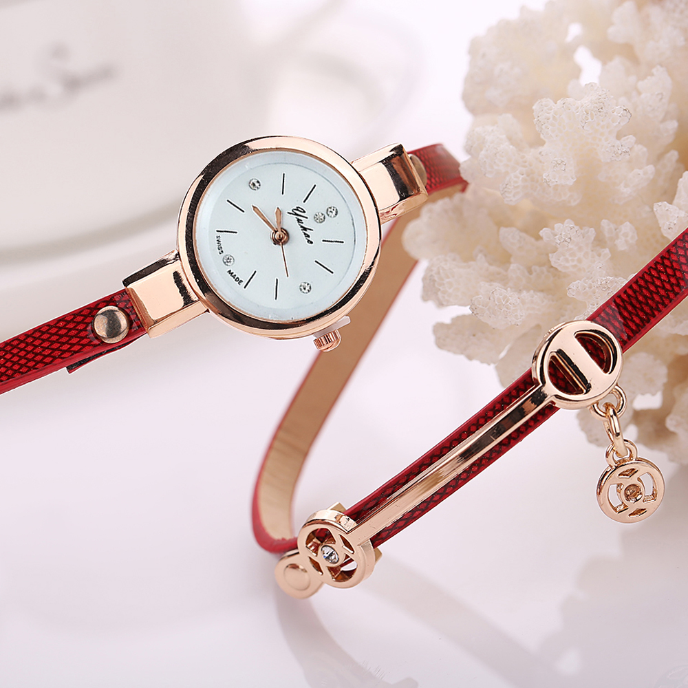 Hot Custom Bracelet Watch Women Metal Case Leather Strap Las Wrist Female Clock Hour Relogio Feminino 2019