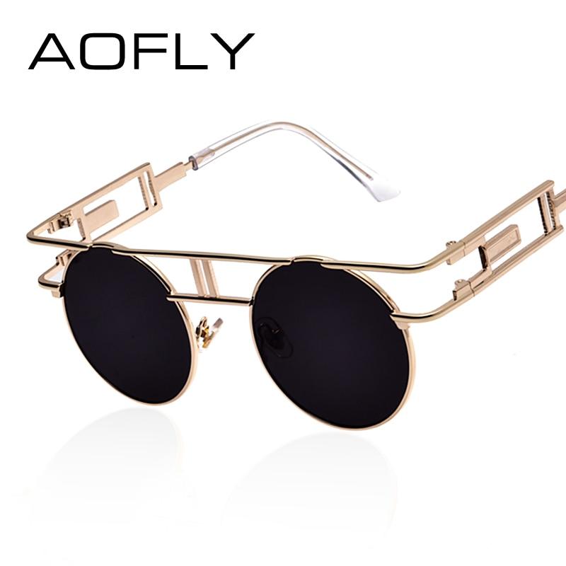 58d1d7b37c21d2 AOFLY Cadre En Métal de Mode Steampunk lunettes de Soleil Femmes Marque  Designer Unique Hommes Gothique lunettes de Soleil Vintage Oculos De Sol  Feminino