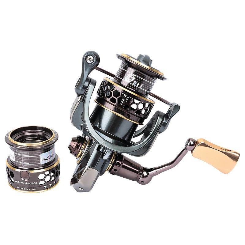 Jaguar 1000 2000 3000 9+1BB 5.2:1 Fishing Spinning Reel Carp Saltwater Fishing Reel Spinning Double Metal Reels Feature кастрюля oursson ca 2000 p bb