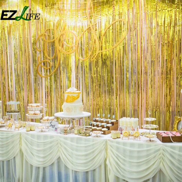 Wholesale 2M gold/silver tasseled curtain ribbons aluminium film balloon wedding anniversary birthday party supplies XY0009