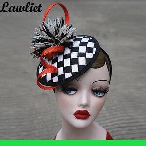 Image 3 - คอลเลกชันใหม่ Fascinators หมวก Sinamay Feather ตาข่ายหมวกสำหรับ Womens Kentucky Derby งานแต่งงานค็อกเทล Headband 1pcs