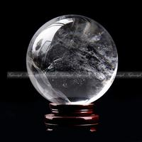 AAAAA 1pc 40mm Clear Natural White Quartz Crystal Sphere Ball Healing specimen +Stand natural stones and minerals