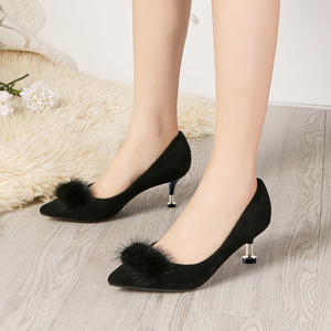 Image 4 - Lucyever 2019 New Shallow Women Pumps Pointed Toe Flock High Heels Ladies Shoes Sexy Thin Heeled Fur Ball Party Shoes Woman