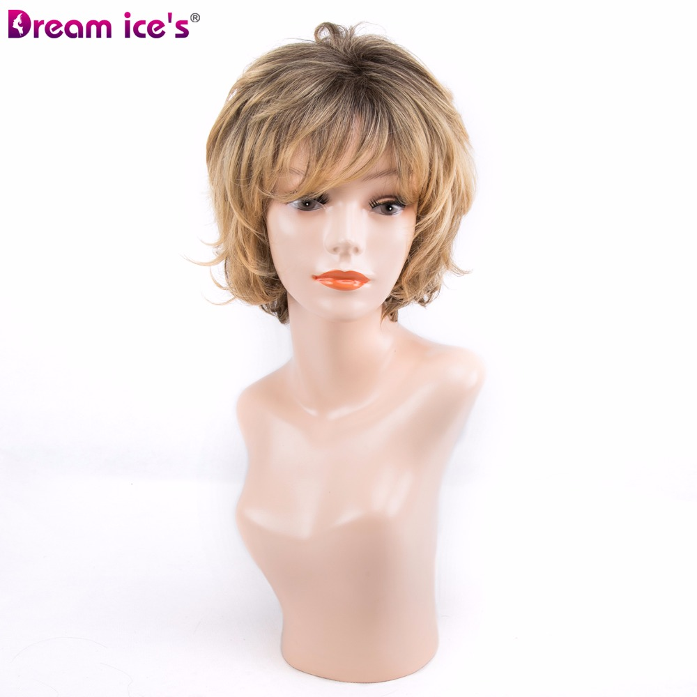 Short wig Grey Natural Wave Ombre Blond Kanekalon Fiber Cosplay Wig Adjustable Short Bob Wigs