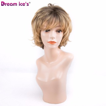 Short wig  Natural Wave Ombre synthetic Fiber yellow and Grey two color available Cosplay Wig Adjustable Bob Wigs