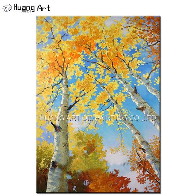 Handmade Modern Yellow Leaf Fern Tree Landscape Acrylic Oil Painting ...