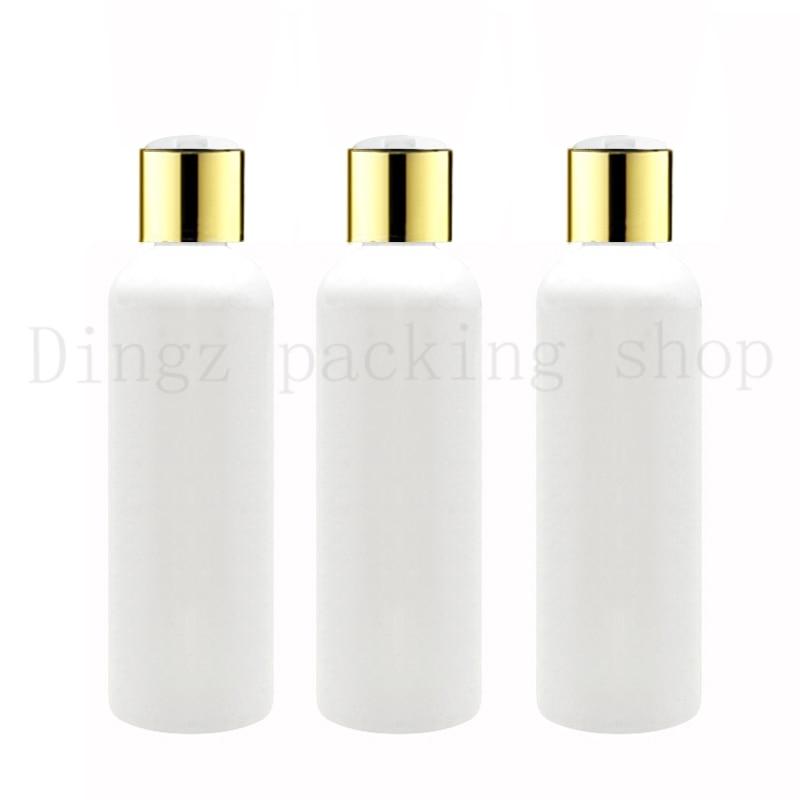 50X100 ml 150ml200ml 250 ml weiß plastic shampoo flaschen mit gold schraubkappen, leere ätherische öle kosmetische verpackung duschgel-in Nachfüllbare Flaschen aus Haar & Kosmetik bei  Gruppe 1