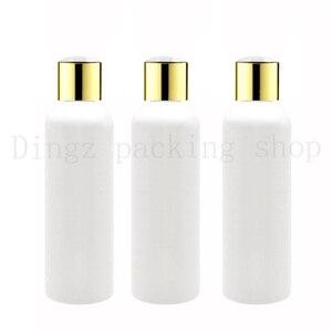 Image 1 - 50X100ml 150ml200ml 250ml weiß kunststoff shampoo flaschen mit gold schraube kappen, leeren ätherisches öle kosmetische verpackung dusche gel