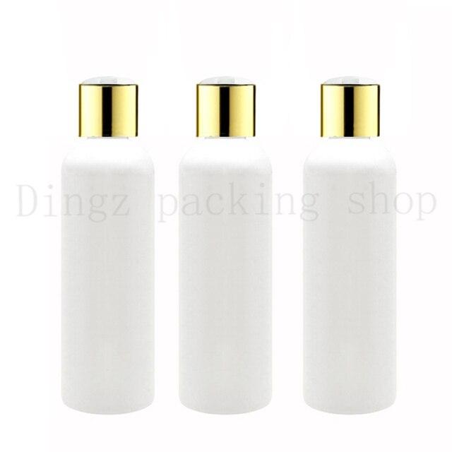 50X100ml 150ml200ml 250ml weiß kunststoff shampoo flaschen mit gold schraube kappen, leeren ätherisches öle kosmetische verpackung dusche gel
