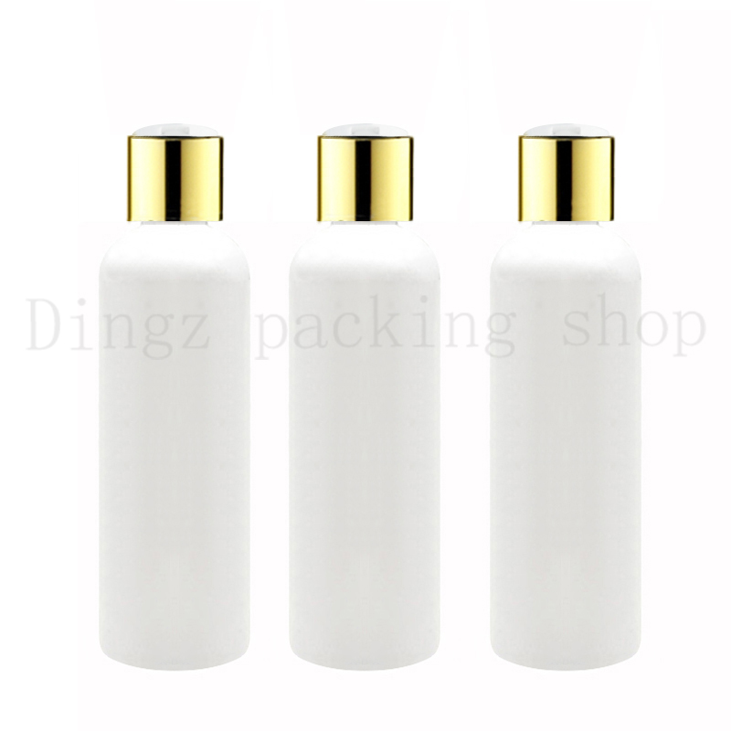 50X100ml 150ml200ml 250ml white plastic shampoo bottles with gold screw caps,empty essential oils cosmetic packaging shower gel-in Refillable Bottles from Beauty & Health