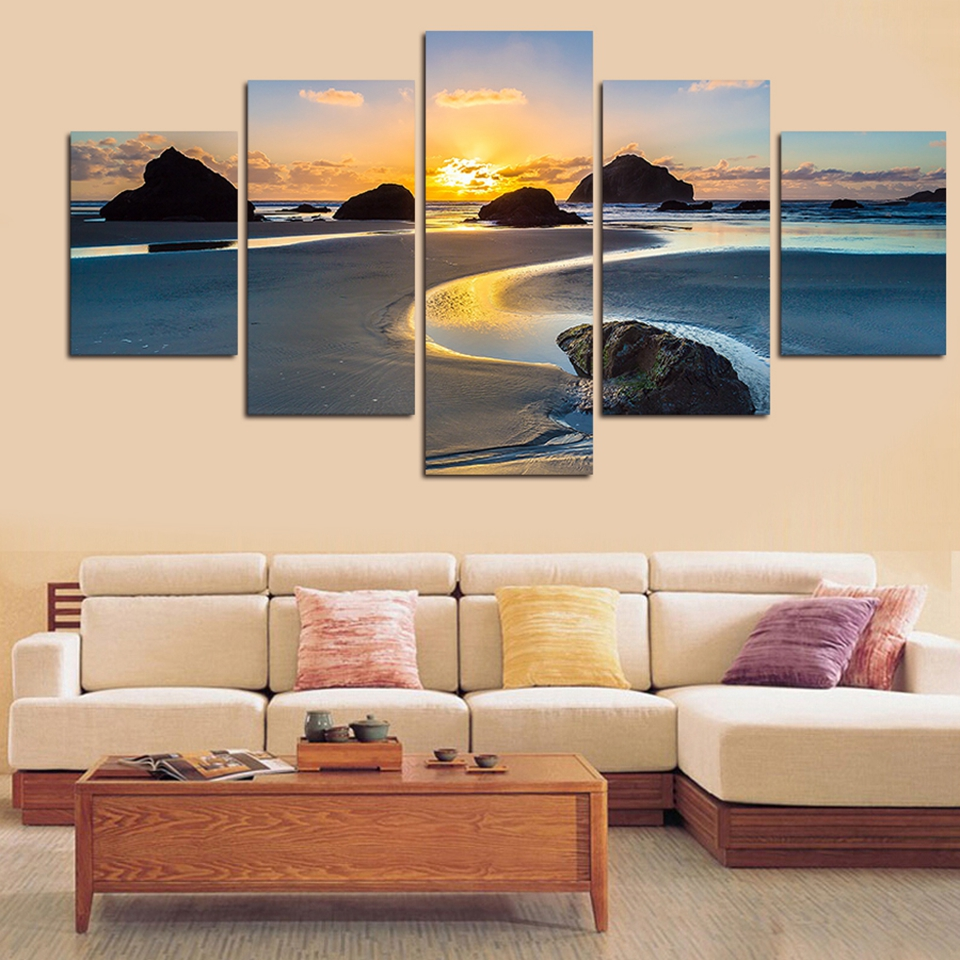 Embelish 5 Panels Sunset Landscape HD Canvas Paintings For Living Room Sand Beach River Reef Wall Modular Pictures Home Decor