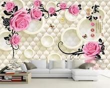 цена на Beibehang Custom wallpaper 3D European soft bag rose TV background wall home decoration living room bedroom mural 3d wallpaper