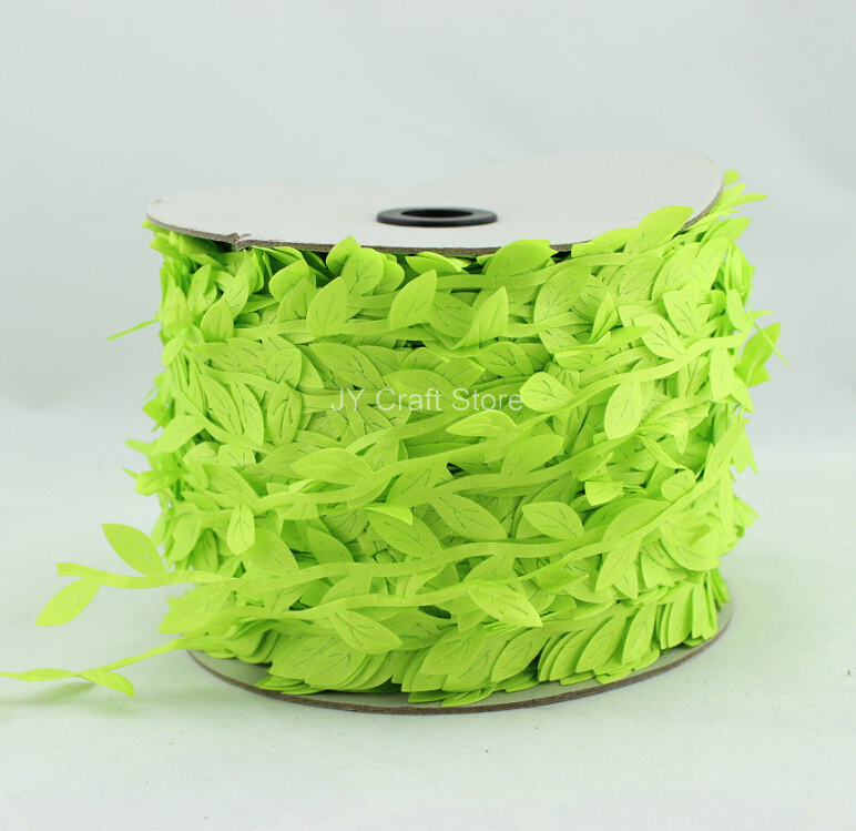 >200yard/lot <font><b>Cut</b></font> <font><b>Out</b></font> <font><b>Neon</b></font> Green Leaves Ribbon Green Vine for home decor projects, spring wedding bouquets handmade cards