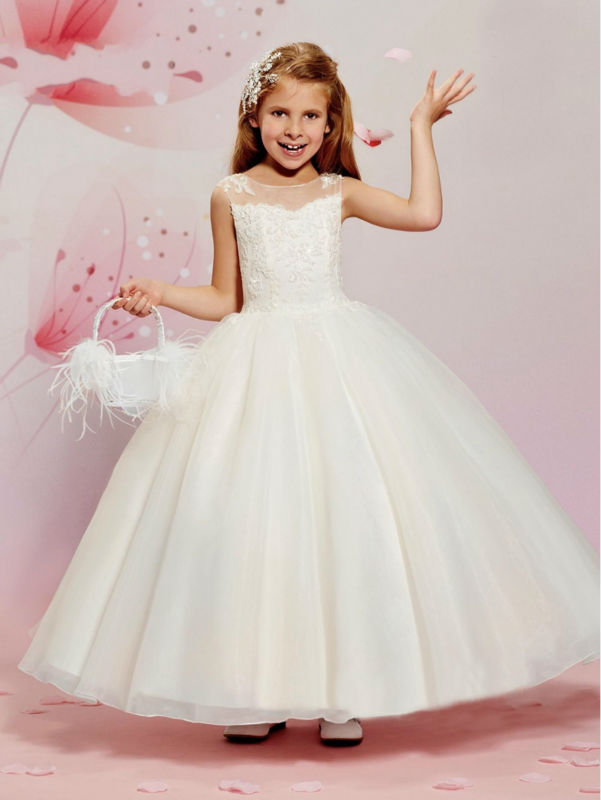 A-Line Flower Girls Dresses For Wedding Gowns Lace Girl Birthday Party Dress Sleeveless Ankle-Length Mother Daughter Dresses a line flower girls dresses for wedding gowns lace girl birthday party dress glitz pageant dresses