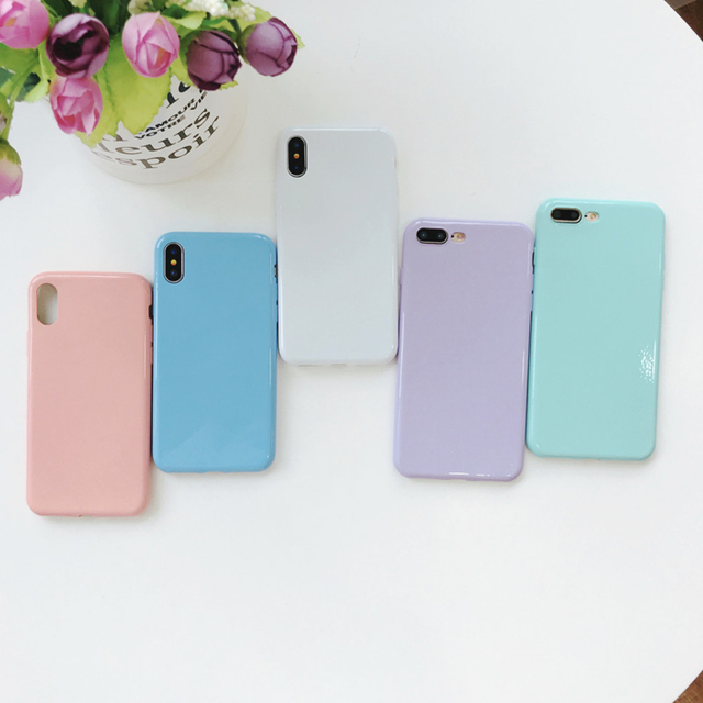 best sneakers 43ffc 21447 US $1.2 29% OFF|Rlenda Soft TPU Candy Colors Light purple White Light green  Pink Blue cover phone case for iphone 8 7 X/XS/XR/XS Max 6S 6 Plus-in ...
