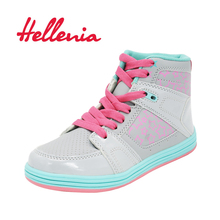Fashion Kids ankle boots size 33-36 shoes Children girls Casual Sneakers spring autumn platform lace up gray pink 2018 Hellenia