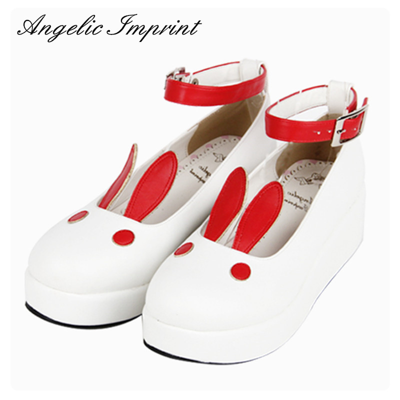 SUPER Lovely White Rabbit Ears Lolita Princess Platform Heels Shoes Comfortable Round Toe Cos Shoes блокнот printio white rabbit