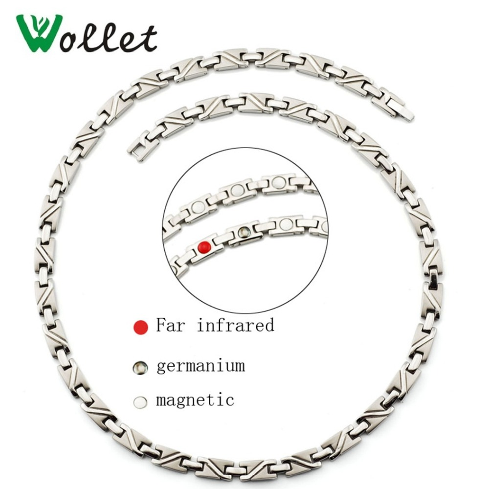 Wollet Jewelry Bio Magnetic Pure Titanium Germanium Magnetic Necklace for Women Men Energy Healing Magnet Infrared Health Energy