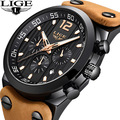 LIGE мужские часы  мужские кожаные автоматические кварцевые часы с датой  мужские водонепроницаемые спортивные часы от ведущего бренда  Relogio ...
