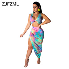 цена на Colorful Tie Dye Sexy Two Piece Set Women Clothes Deep V Neck Sleeveless Crop Top And High Side Split Bandage Long Skirts Outfit