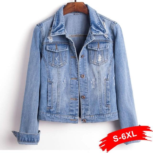 cb0b71e9bcd Women Plus Size 4XL 5XL Cropped Jean Jacket Long Sleeve Light Blue Bomber  Short Denim Jackets Jaqueta Casual Ripped Jeans Coat