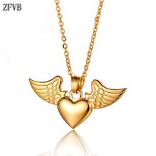 ZFVB Classic Wing Heart Necklaces for Women Men Stainless steel Gold Silver color Fashion Feather Necklace Pendant Jewelry Gift classic heart pendant