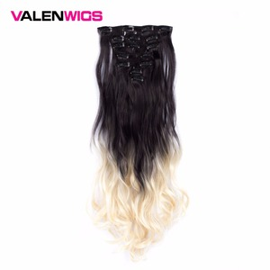 "Valen 22"" 130g Wavy 7pcs/set Clip In on Hair Extensions Synthetic Hair Women Hair Piece Natural Ombre Hairpieces Heat Resistant"