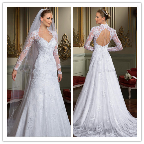 A line Vneck long sleeve lace open back muslim wedding dress-in ...
