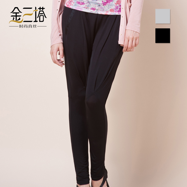 Spandex de seda Mulberry mezcla mujeres de seda elegante pantalones flacos pantalones pantalones en casa
