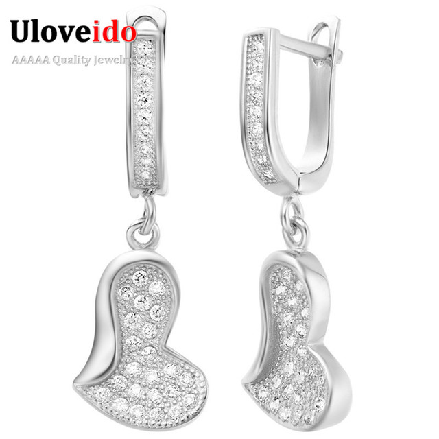 2016 New Crystal Drop Earrings for Women Hearts Rose Gold Plated Platinum Plated Cubic Zirconia Earings Cute Dangle Earing R210