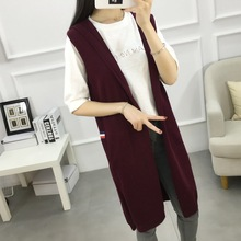 De Dove2016 new winter women's sweater Girls long section of wild knit cardigan coat solid color hooded sleeveless vest