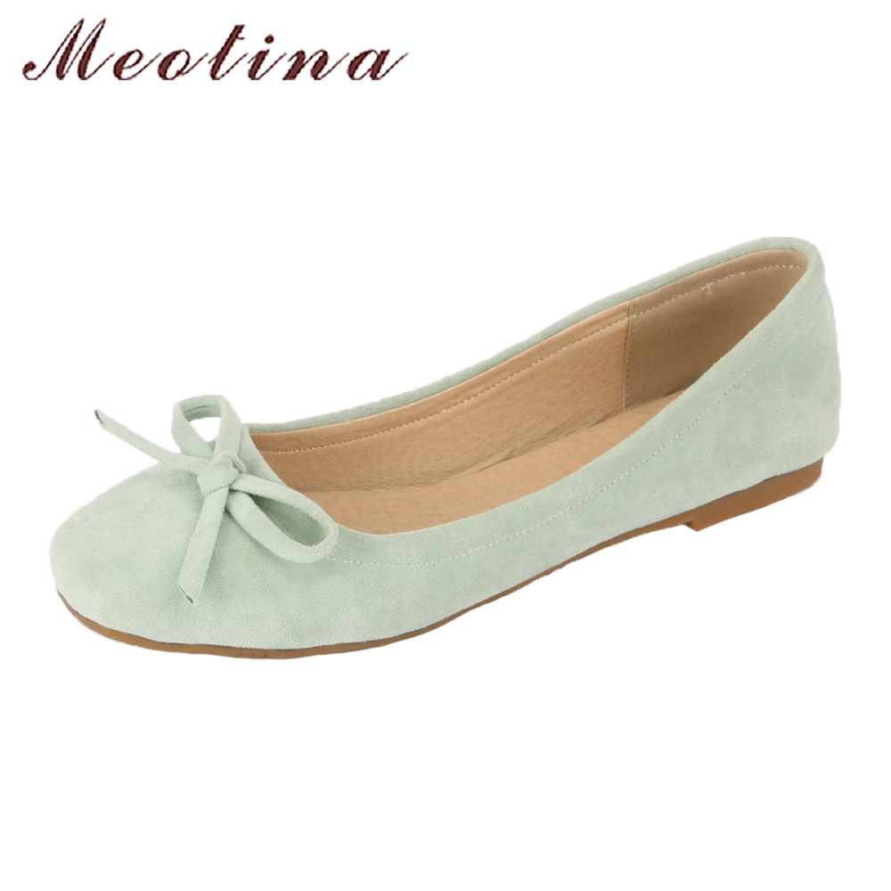 Meotina Women Shoes Flat Boat Shoes Spring Ladies Bow Ballet Flats Autumn Slip On Square Toe Casual Shoes Green Yellow Pink 2017 womens spring shoes casual flock pointed toe narrow band string bead ballet flats flat shoes cover heel women flats shoes