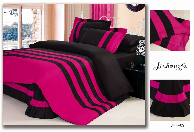 Fashion 4pcs black and rose red home textile prue color ...