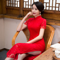 Summer New Vintage Women Lace Print Floral Qipao Sexy Slim Casual Traditional Chinese Dress Lady Wedding Long Cheongsam
