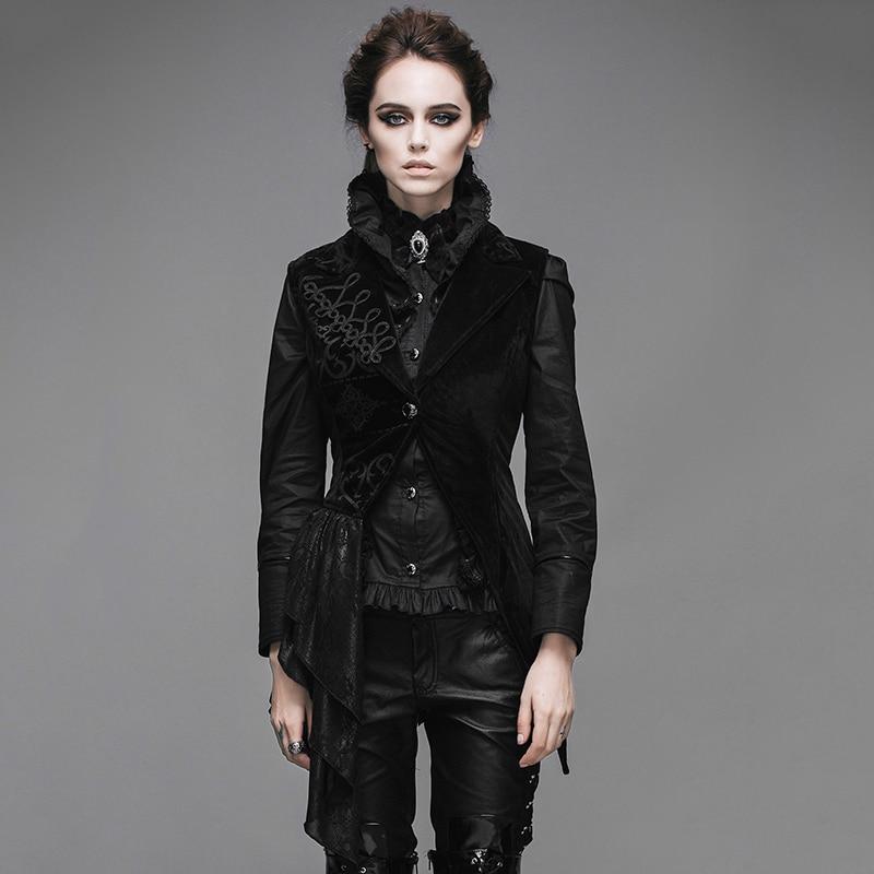 Ďábel módní steampunk černá asymetrická bez rukávů šaty vesta pro ženy gotická výšivka bunda vesty
