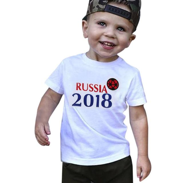 8a2b488f2 2018 russia football t shirt for boy Toddler Baby Boys Summer ...
