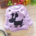 Outono e inverno novas crianças veados camisola cor Sólida camisola menina
