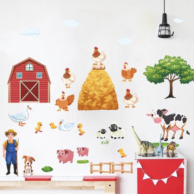 cartoon farm animals wall stickers duck pig hen cows tree village