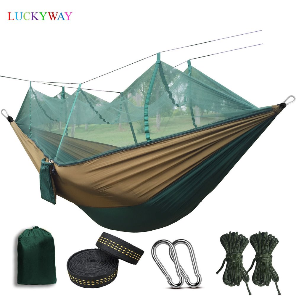 Dropshipping Portable Hammock High Strength Parachute Fabric Hanging Bed With Mosquito Net For Outdoor Camping Travel Dropshipping Portable Hammock High Strength Parachute Fabric Hanging Bed With Mosquito Net For Outdoor Camping Travel