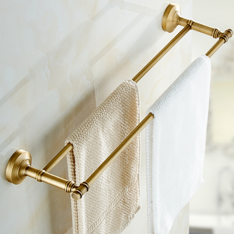 цены Wall Mounted Antique Brass Bathroom Towel Rack Holder Dual Towel Bars Hangers