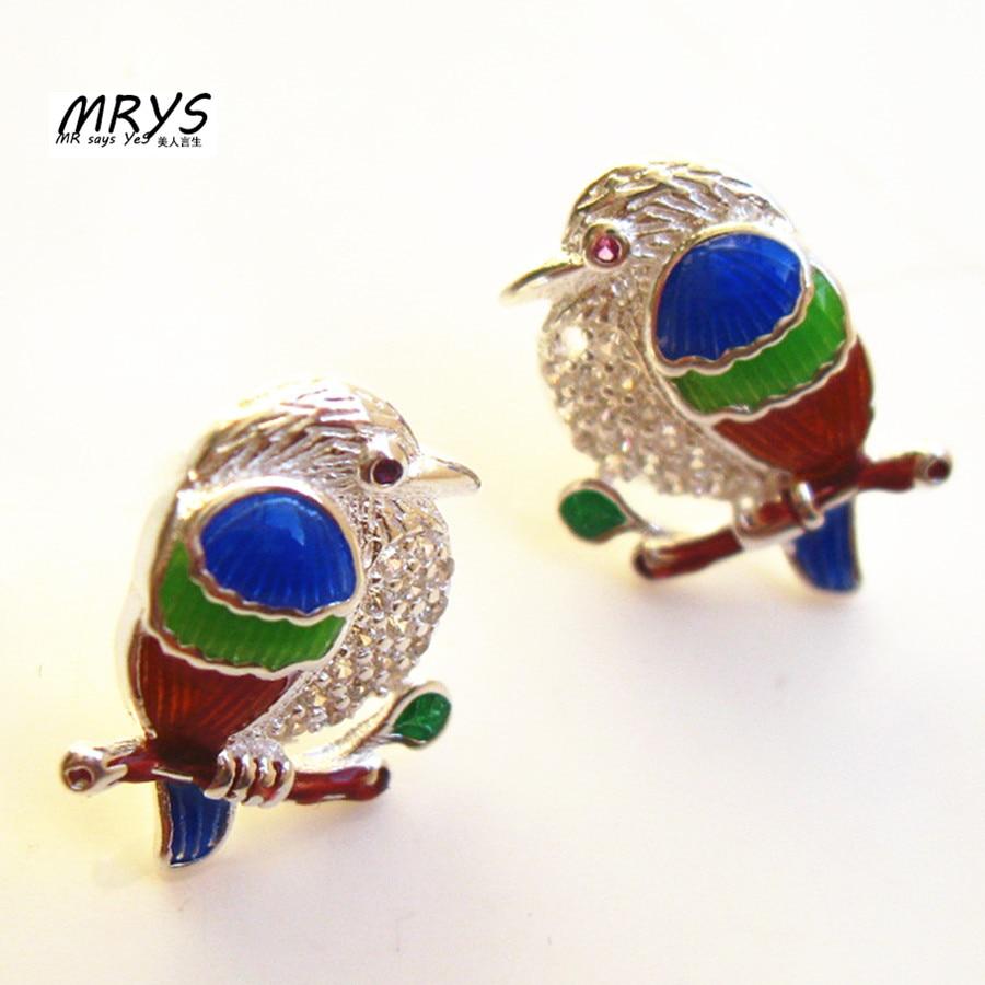 Cute Blue Red Green Birds Earring Studs Ethnic Cloisonne Enamel Fashion Jewelry Women Girls Trendy Party Birthday Gift Amazing